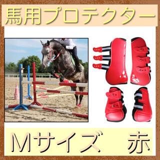 乗馬 プロテクター M 赤 馬用 4脚 乗馬用品 馬術用品 クレイン(その他)