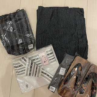 浴衣 メンズ、男性用 ストライプ ブラック 5点セット(浴衣)