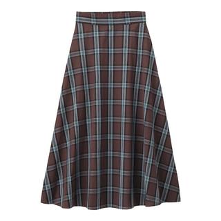 ジーユー(GU)のチェックフレアロングスカートAGN Mサイズ(ロングスカート)