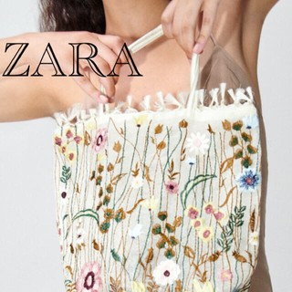 ザラ(ZARA)のお値下げ!ZARA フラワーデザイン 刺繍トート(トートバッグ)