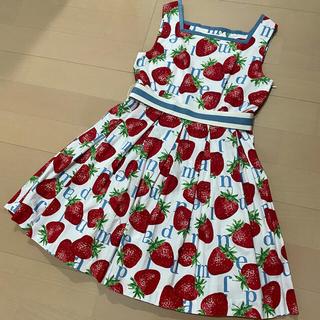 ジェーンマープル(JaneMarple)のStrawberry Meets Logo バックフリルドレス オフホワイト(ひざ丈ワンピース)
