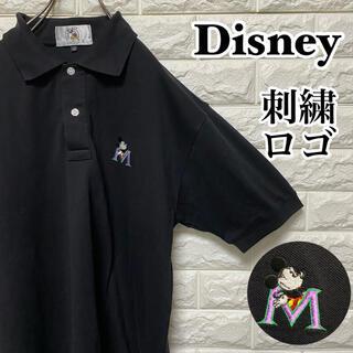 ディズニー(Disney)の【Disney】ポロシャツ ワンポイント刺繍ロゴ ブラック ディズニー ゴルフ(ポロシャツ)