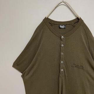 ドルチェアンドガッバーナ(DOLCE&GABBANA)のドルチェ&ガッパーナ D&G   ヘンリーネックTシャツ 刺繍ロゴ ブラウン L(Tシャツ/カットソー(半袖/袖なし))