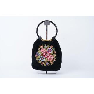 フェイラー(FEILER)の美品 FEILER ハンドバッグ 花柄 黒 フェイラー ドイツ製 パイル生地(ハンドバッグ)
