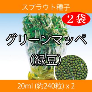 スプラウト種子 S-17 グリーンマッペ(緑豆) 20ml 約240粒 x 2袋(野菜)