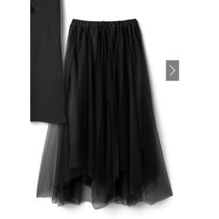 グレイル(GRL)の新品未使用 グレイル チュールスカート黒 L(ひざ丈スカート)