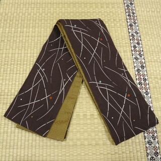 濃い焦げ茶色に芝草と水玉 半幅帯(浴衣帯)