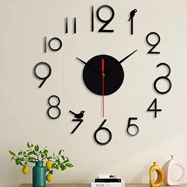 ウォールクロック 掛け時計 黒 小鳥   ウォールステッカー カラーセレクトOK インテリア/住まい/日用品のインテリア小物(掛時計/柱時計)の商品写真