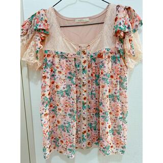 アクシーズファム(axes femme)のトップス 花柄 夏 半袖 ピンク リボン(Tシャツ(半袖/袖なし))