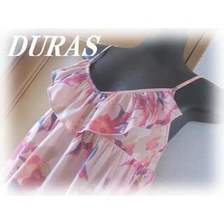 DURAS - 【美品】DURAS デュラス 花柄 フリル チュニック ワンピース