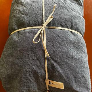 ムジルシリョウヒン(MUJI (無印良品))の無印良品 シングルベッド用シーツ ネイビー(シーツ/カバー)