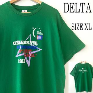 デルタ(DELTA)のUS古着 DELTA デルタ 両面プリント Tシャツ グリーン 緑 XL(Tシャツ/カットソー(半袖/袖なし))