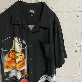 STUSSY - 【レア!!】stussy レーヨンシャツ 柄シャツ ウィスキー ロックグラス 黒