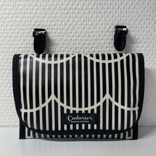 ラミネート移動ポケット♡ストライプフリル♡ブラック♡ブラックタグ(外出用品)