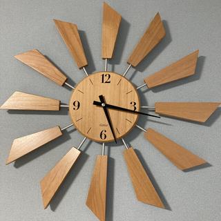 壁掛 時計 ウォール ウッド ナチュラル 木 北欧 カフェ 太陽 静音 クロクロ