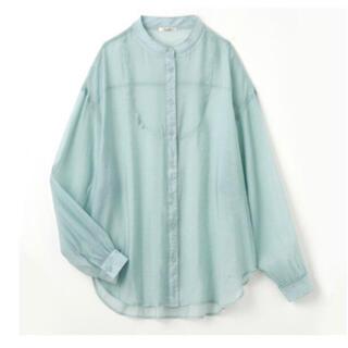 しまむら - 【 プチプラのあや 】 PAバンドネックシャツ 淡緑 LL