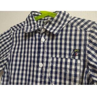 ブリーズ(BREEZE)の☆ブリーズ☆ブルドッグワンポイントチェックシャツ ネイビー  140(Tシャツ/カットソー)