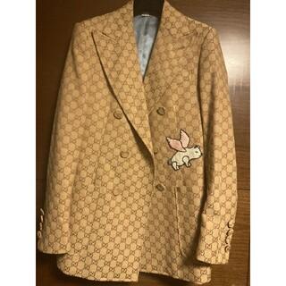 グッチ(Gucci)のGUCCI キャンバス ダブルジャケット 刺繍付き(テーラードジャケット)
