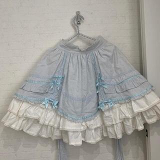 Angelic Pretty - アンジェリックプリティ バッスル スカート サックス リボン スカラップ