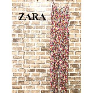 ザラ(ZARA)の【希少】❤ザラ❤ キャミソールサロペット 花柄 ピンク ZARA ポケット付(サロペット/オーバーオール)