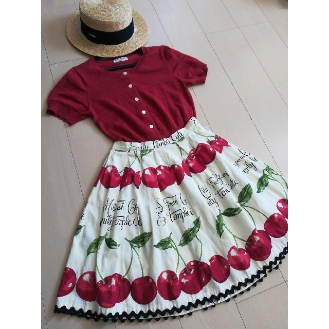 Emily Temple cute(エミリーテンプルキュート)のエミリーテンプルキュート チェリー柄スカート アイボリー レディースのスカート(ひざ丈スカート)の商品写真