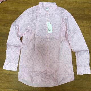 新品☆ユニクロ メンズ プリント長袖シャツ ピンク Mサイズ