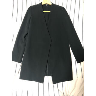 セオリー(theory)の状態良い美品です。セオリー黒のロングジャケット。(ノーカラージャケット)