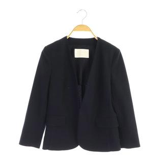 Ballsey - ボールジー リネン混 ノーカラージャケット 七分袖 36 紺 ネイビー