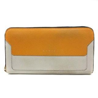 Marni - マルニ 長財布 ラウンドファスナー レザー ロゴ バイカラー 黄色 グレー