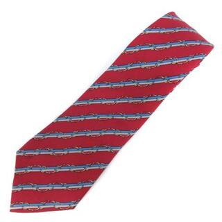 エルメス(Hermes)のエルメス ネクタイ レギュラータイ ストライプ 絹 シルク 総柄 赤 ■GY(ネクタイ)