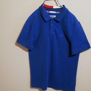 トミー(TOMMY)のトミージーンズ 半袖 ポロシャツ Sサイズ ロゴ入り 青 ビッグロゴ オシャレ(ポロシャツ)