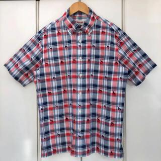 マックレガー(McGREGOR)の美品 McGREGOR ドッグプリント 半袖 チェック シャツ(L)(シャツ)