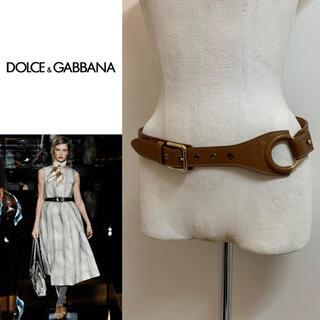 ドルチェアンドガッバーナ(DOLCE&GABBANA)のDOLCE&GABBANA ITALY製 ゴールドリングデザイン レザーベルト(ベルト)