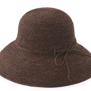 ムジルシリョウヒン(MUJI (無印良品))のラフィア つば広帽子 ブラウン(麦わら帽子/ストローハット)