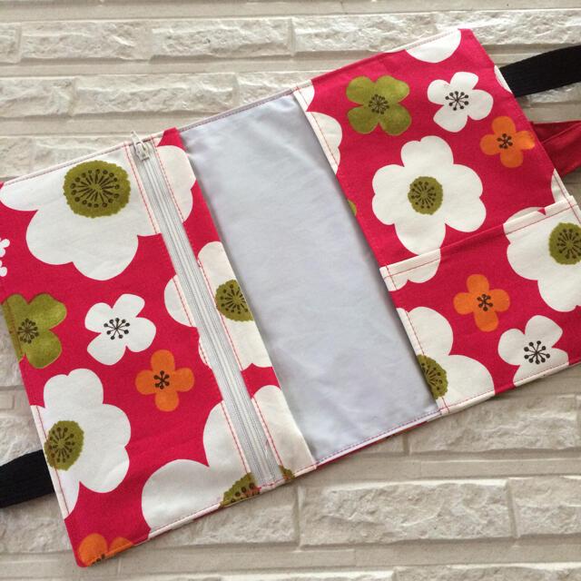 レビューブックカバー★濃いピンクと白の花柄 ハンドメイドの文具/ステーショナリー(ブックカバー)の商品写真