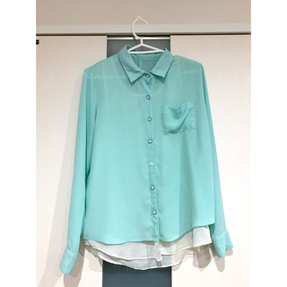 EMSEXCITE - カラーシャツ ミントグリーン シースルー シアーシャツ