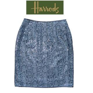 ハロッズ(Harrods)のHarrods スパンコール 蛇柄 スカート ☆美品 ハロッズ(ひざ丈スカート)
