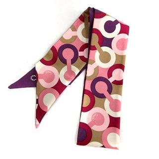 コーチ(COACH)のコーチ スキンスカーフ リボン スカーフ シルク ピンク 紫(バンダナ/スカーフ)