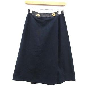 エルメス(Hermes)のエルメス ラップスカート ひざ丈 フレア レザー 切替 38 M 紺(ひざ丈スカート)