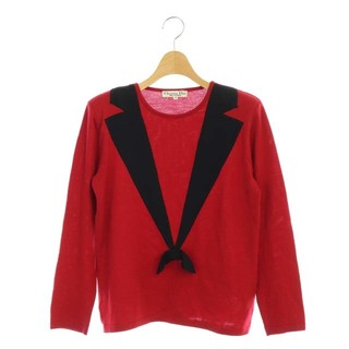 ディオール(Dior)のディオール ヴィンテージ デザイン ニット セーターリボン 長袖 M 赤 レッド(ニット/セーター)