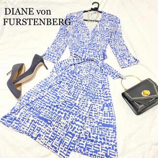 DIANE von FURSTENBERG - DVF ラップワンピース カシュクール 膝丈 総柄 ブルー 2 S