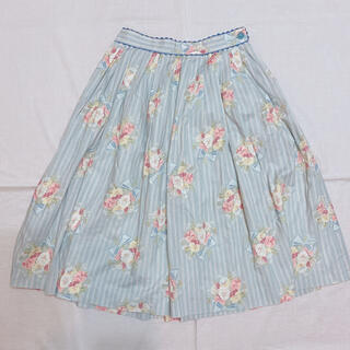 ジェーンマープル(JaneMarple)のジェーンマープル ♡ パンジー 花柄スカート ブルー(ひざ丈スカート)