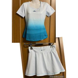 アディダス(adidas)のアディダス PARLEY テニス 上下セット L 白とグリーン(ウェア)