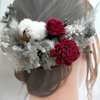 【H30】ヘアパーツ ヘアーピン 髪飾り ドライフラワー プリザーブドフラワー(ヘッドドレス/ドレス)