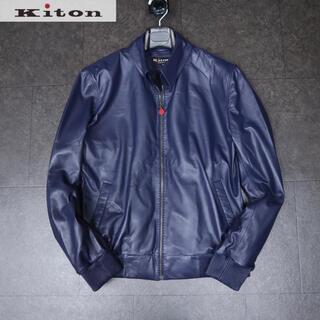 KITON - kiton キートン 89万新品最高級ラムネイビーレザースタンドネックジャケット