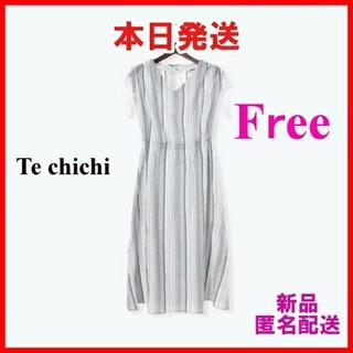 テチチ(Techichi)の【新品】ジャカードストライプワンピース テチチ Techichi 黒(ひざ丈ワンピース)