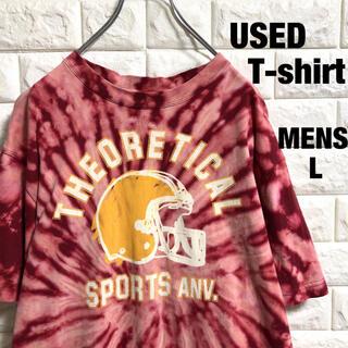 アメリカ古着 ブリーチ加工 アメフト Tシャツ メンズLサイズ(Tシャツ/カットソー(半袖/袖なし))