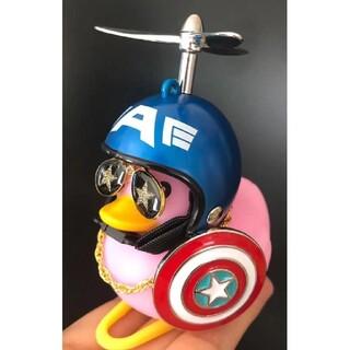 アヒル隊長 自転車自動車 バイク【キャプテンアメリカx星メガネx盾】ヘルメット