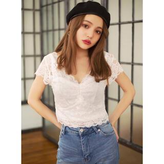 グレイル(GRL)のGRL カップ入りレーストップス インナー ホワイト 人気 韓国ファッション(キャミソール)