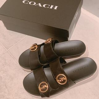 コーチ(COACH)のCOACH コーチ サンダル 37サイズ 革 ブラック(サンダル)